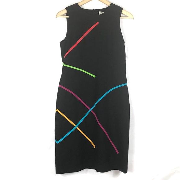 David Meister Dresses & Skirts - David Meister Black Midi Dress Black Rainbow 4
